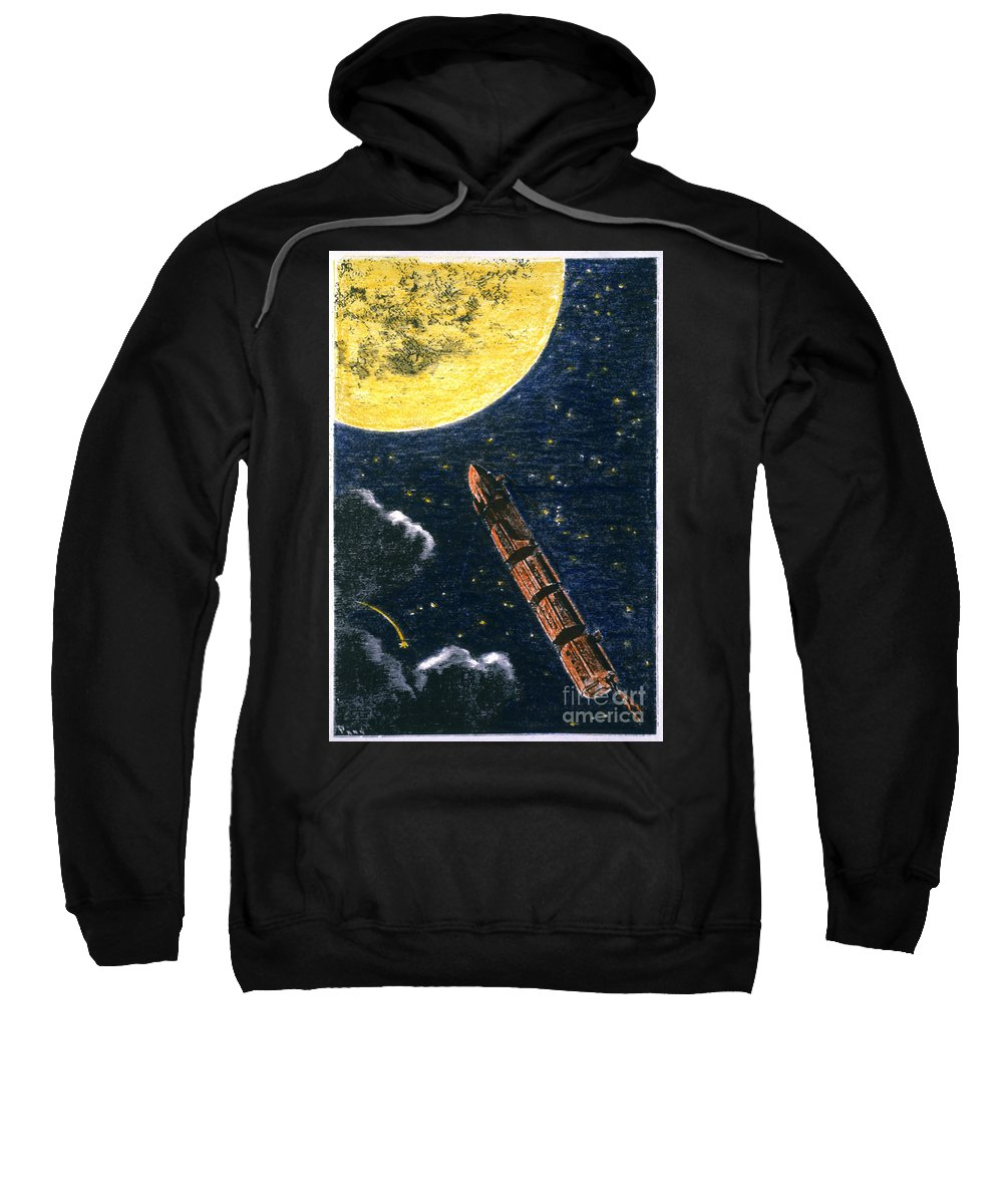 19th Century Sweatshirt featuring the photograph Verne: From Earth To Moon by Granger