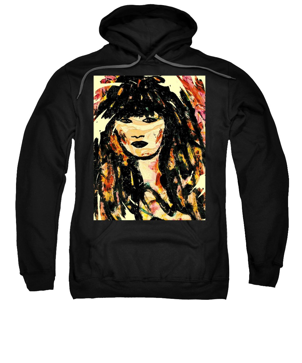 Woman Sweatshirt featuring the mixed media Veronica by Natalie Holland