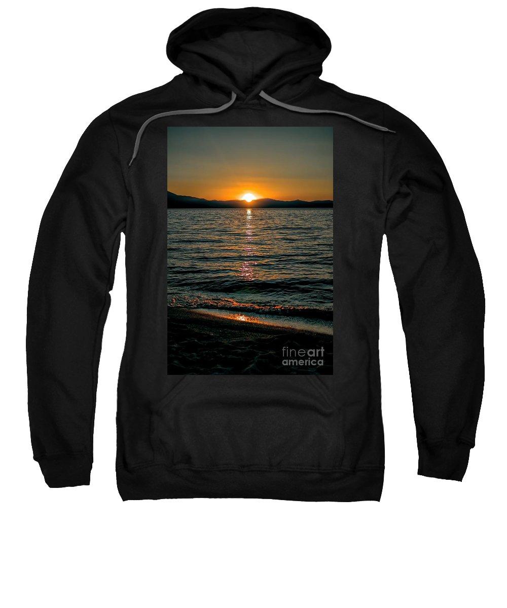 Sunset; Waves; Lake; Orange; Yellow; Blue; Mountains; Alpine; Boats; Reflection; Joe Lach Sweatshirt featuring the photograph Vertical Sunset Lake by Joe Lach