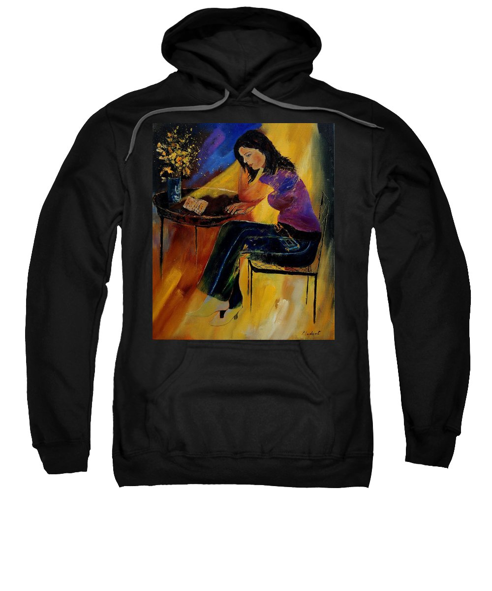Figurative Sweatshirt featuring the painting Very Bad News by Pol Ledent