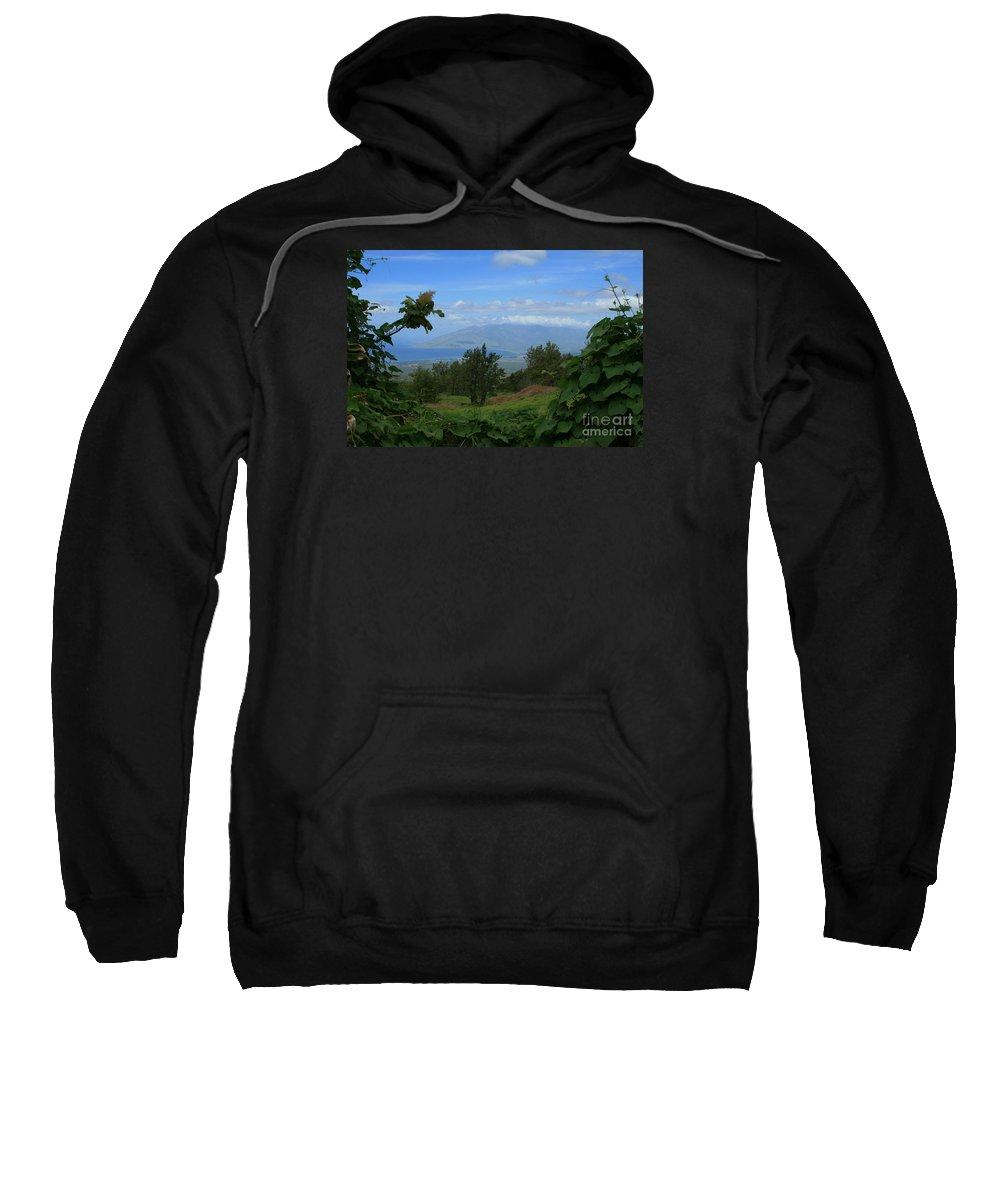 Keokea Sweatshirt featuring the photograph View Of Mauna Kahalewai West Maui From Keokea On The Western Slopes Of Haleakala Maui Hawaii by Sharon Mau