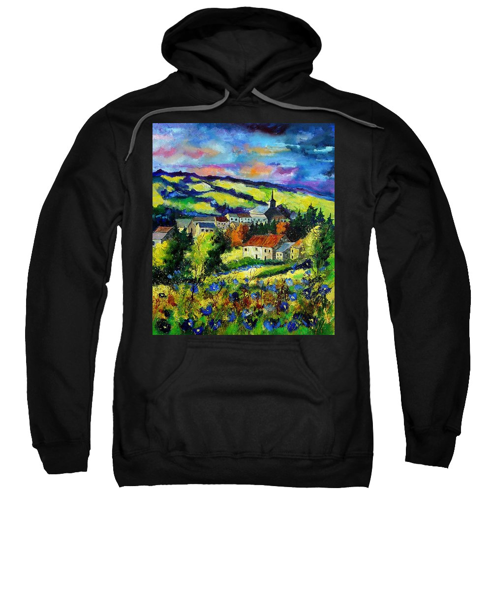 Landscape Sweatshirt featuring the painting Village And Blue Poppies by Pol Ledent