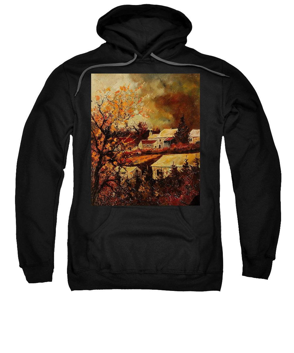 Tree Sweatshirt featuring the painting Village Curfoz by Pol Ledent