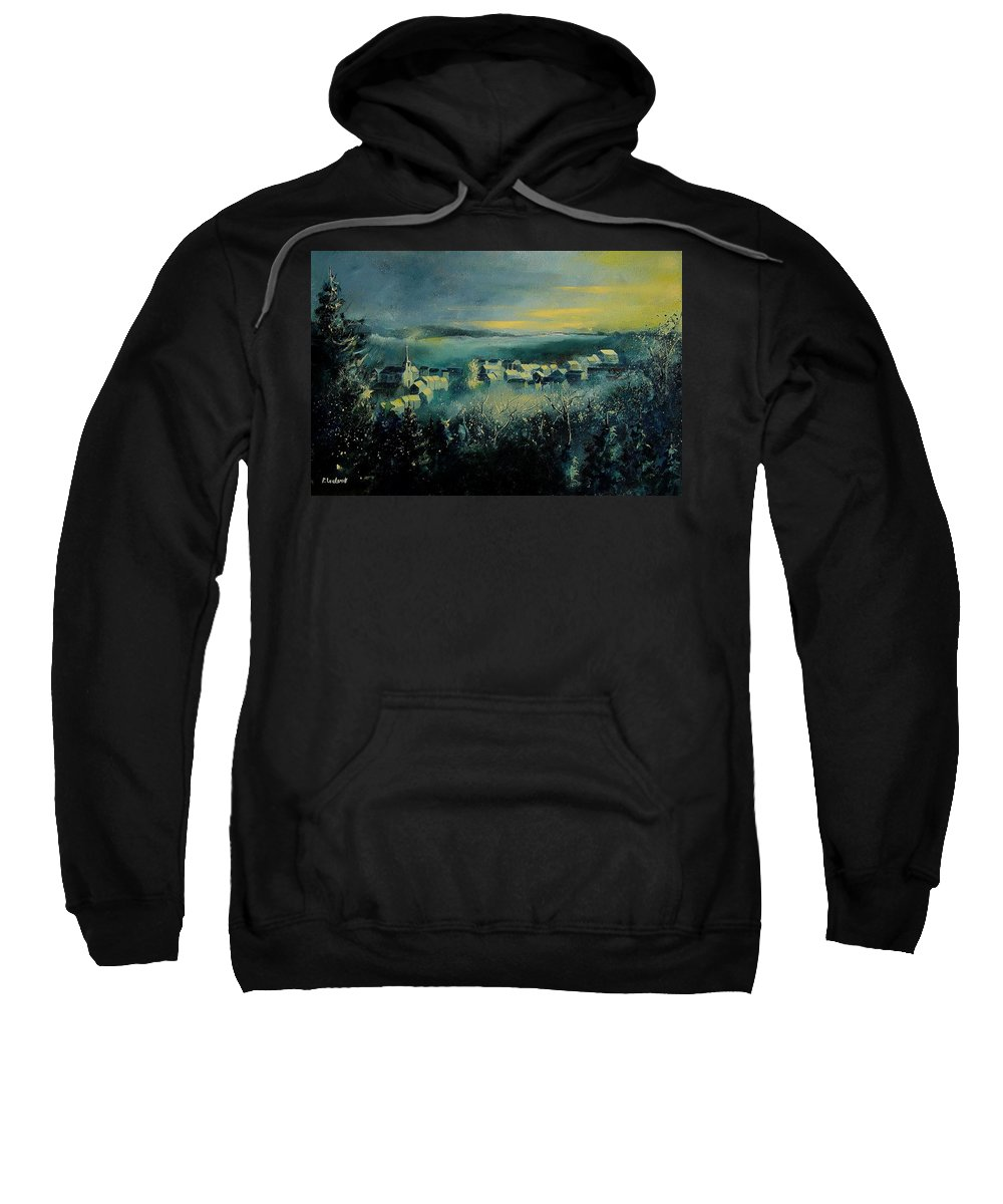 Village Sweatshirt featuring the painting Village In A Misty Morning by Pol Ledent
