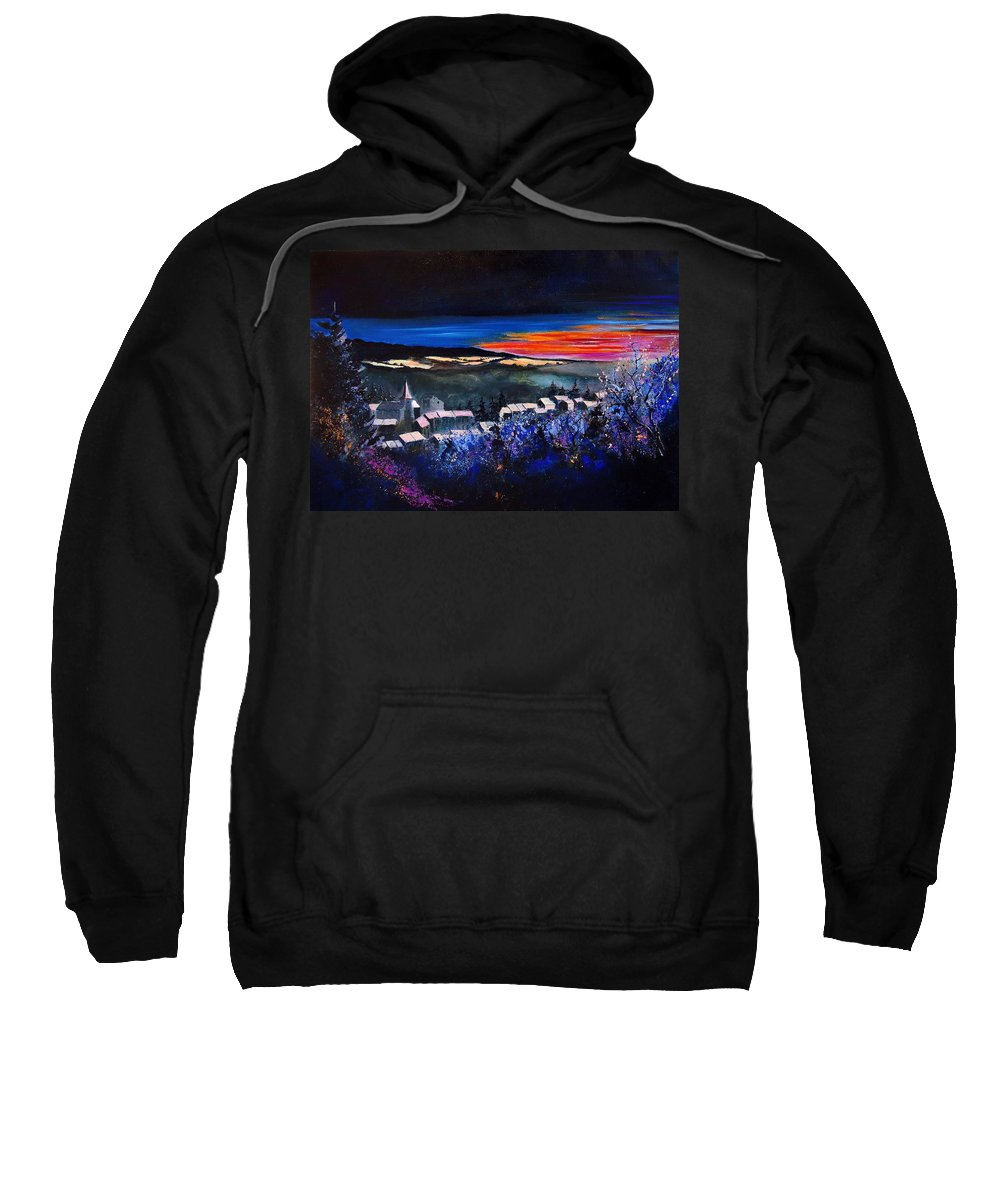 Landscape Sweatshirt featuring the painting Village In A Winter Morninglight by Pol Ledent