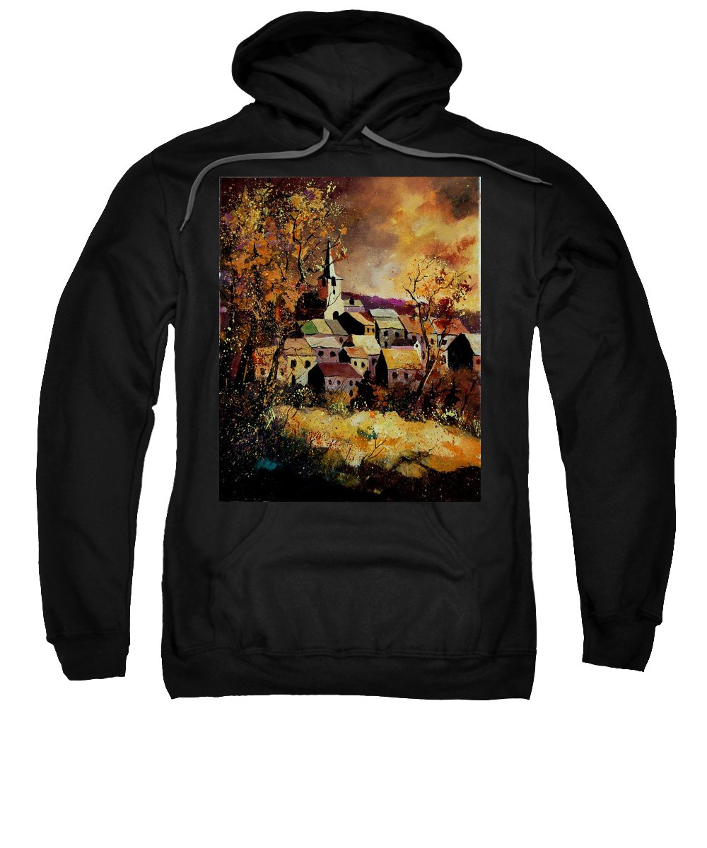 River Sweatshirt featuring the painting Village In Fall by Pol Ledent