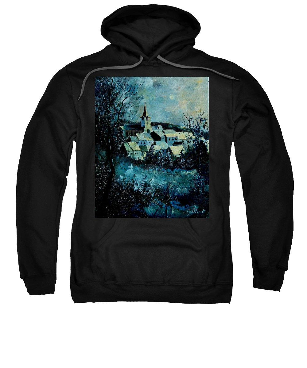 River Sweatshirt featuring the painting Village in winter by Pol Ledent