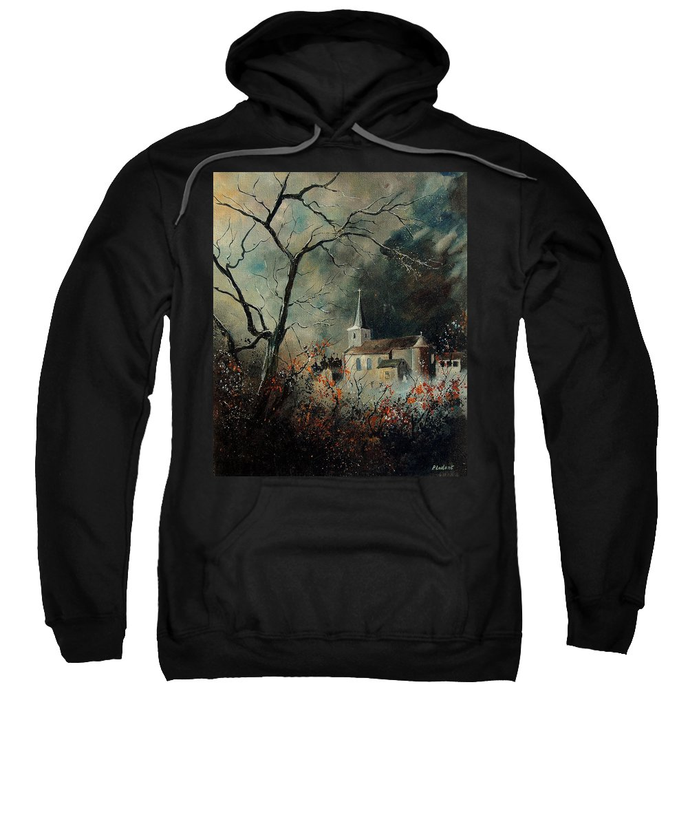 Tree Sweatshirt featuring the painting Village Vivy by Pol Ledent