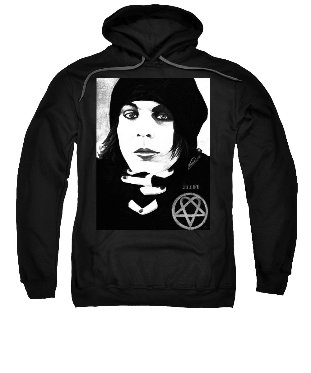 Ville Valo Sweatshirt featuring the painting Ville Valo Portrait by Alban Dizdari