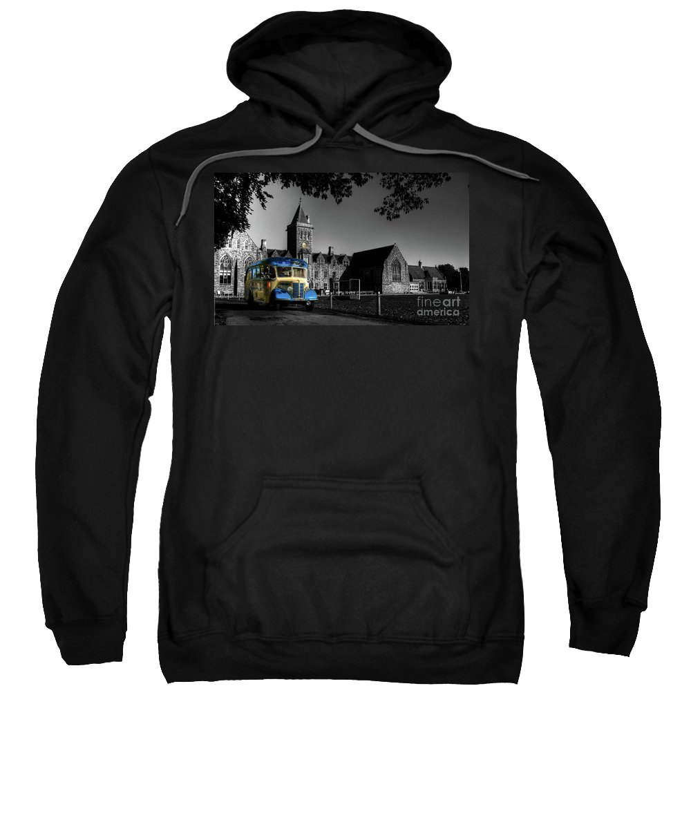 Bus Sweatshirt featuring the photograph Vintage Bus At Taunton School by Rob Hawkins