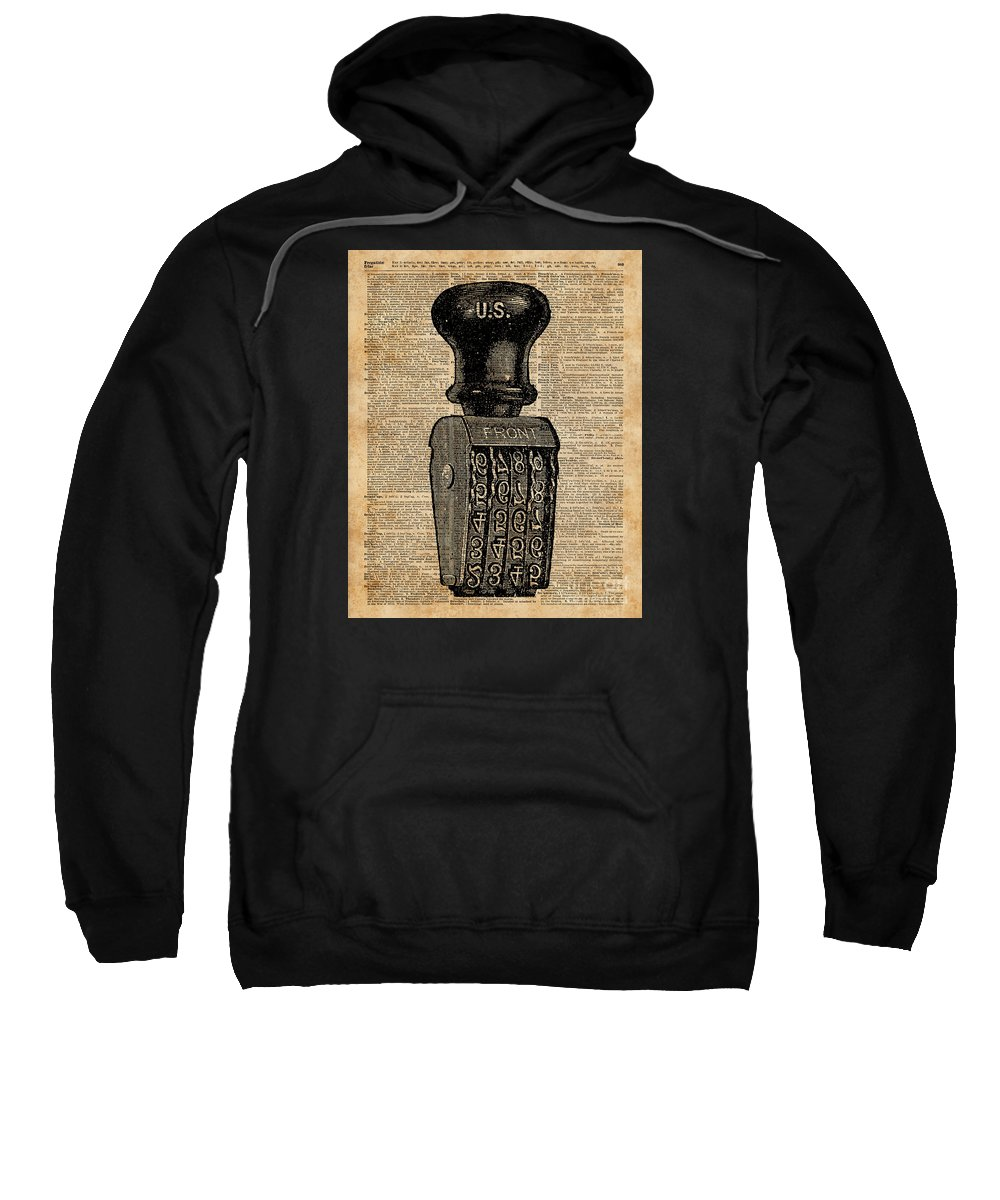 Aged Items Sweatshirt featuring the digital art Vintage Handstamp Illustation Over Old Book Page by Anna W