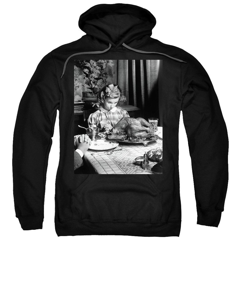 Thanksgiving Sweatshirt featuring the photograph Vintage Photo Depicting Thanksgiving Dinner by American School