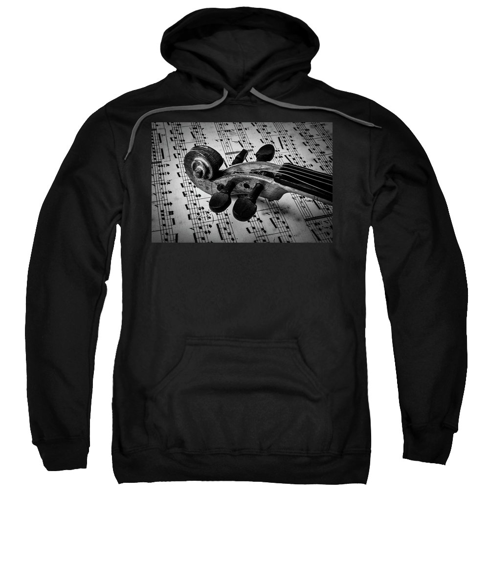 Violin Sweatshirt featuring the photograph Violin Scroll On Sheet Music by Garry Gay