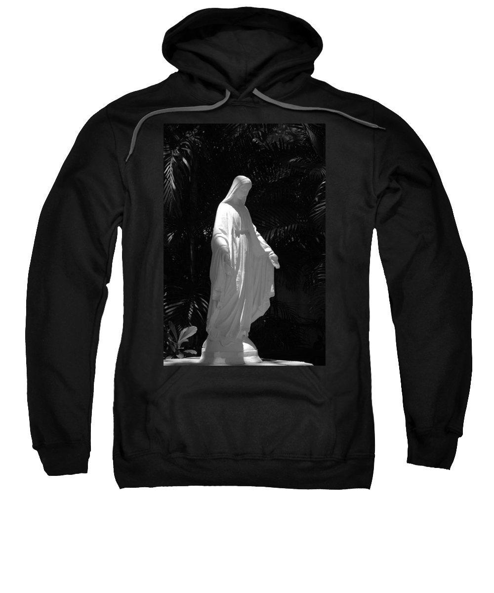 Black And White Sweatshirt featuring the photograph Virgin Mary In Black And White by Rob Hans