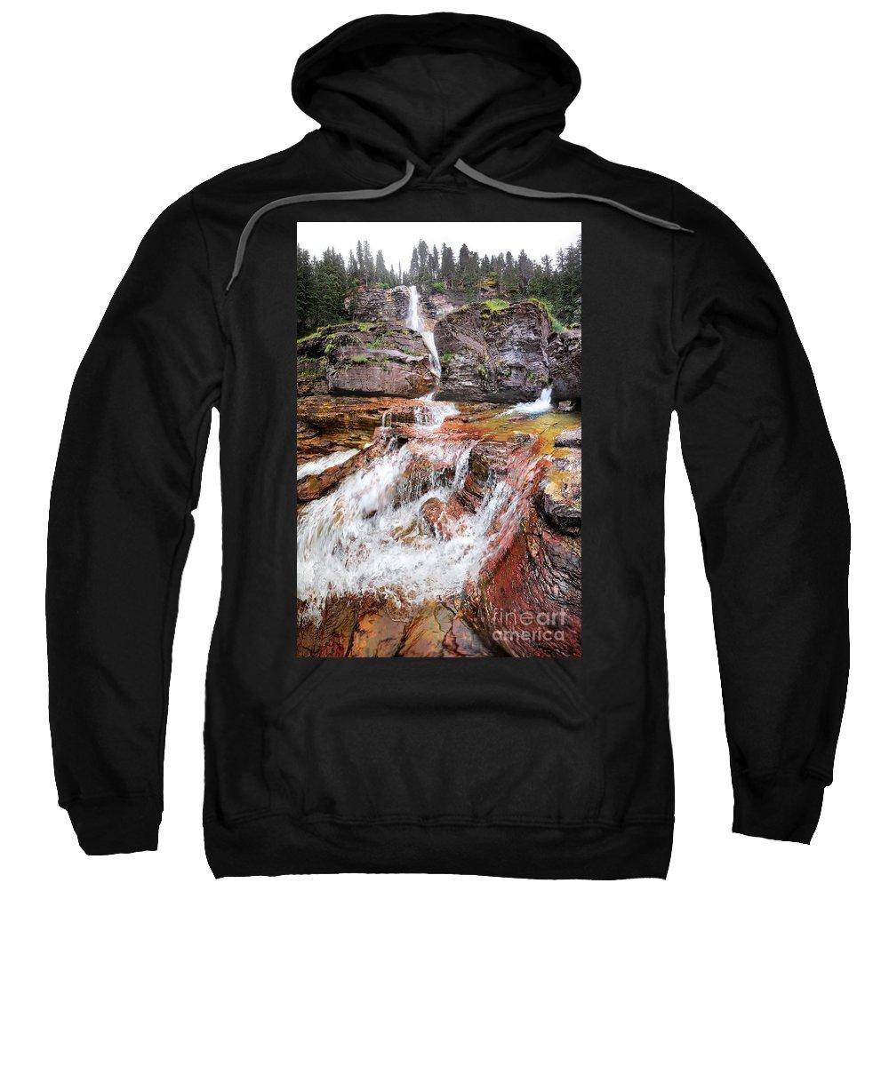 Glacier National Park Sweatshirt featuring the photograph Virginia Falls - Glacier National Park by Bruce Lemons
