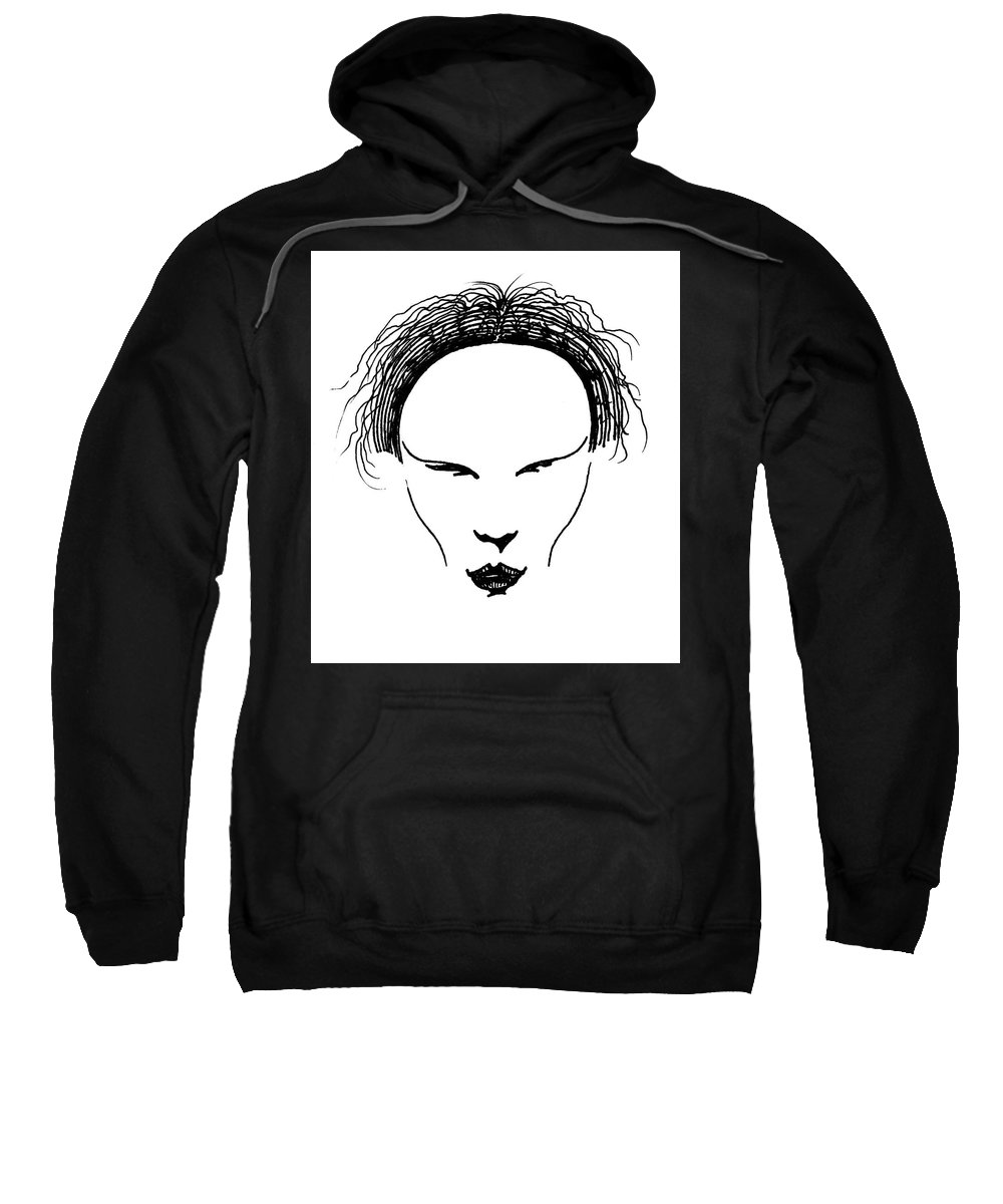 Pen And Ink Sweatshirt featuring the drawing Visage by Keith A Link