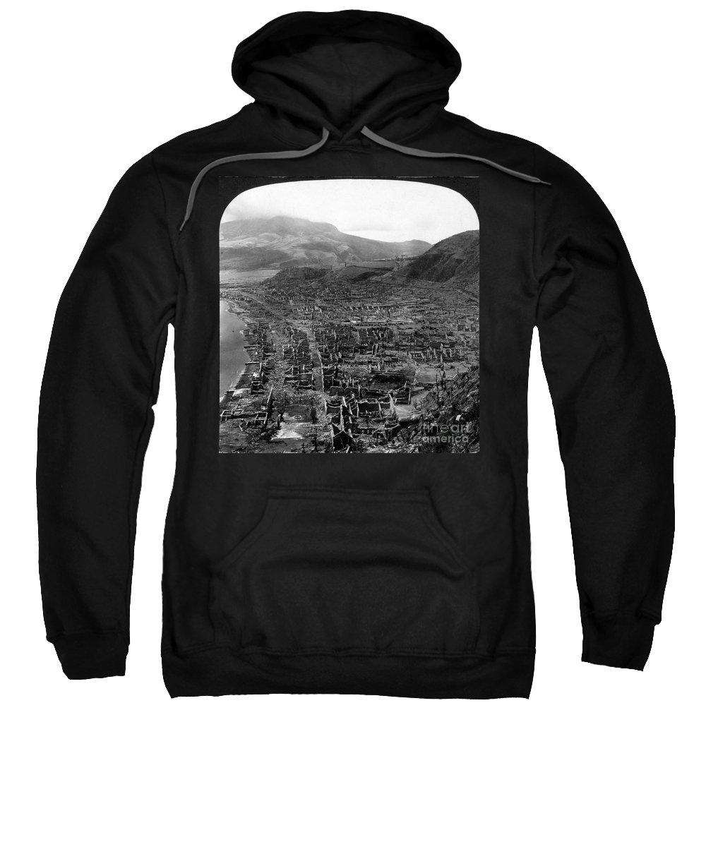 1902 Sweatshirt featuring the photograph Volcano: Mount Pelee, 1902 by Granger