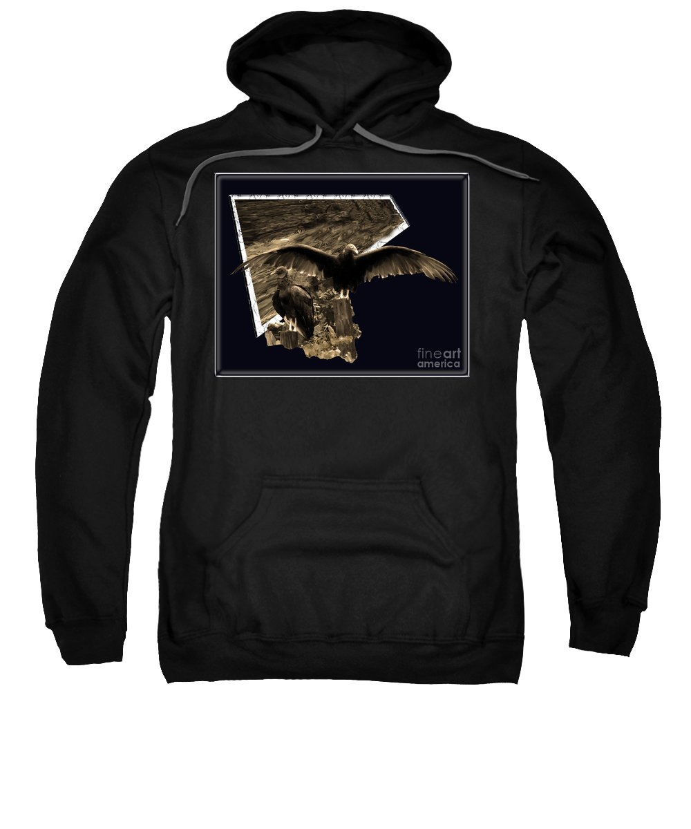 Birds Sweatshirt featuring the photograph Vulture 3d by Donna Brown