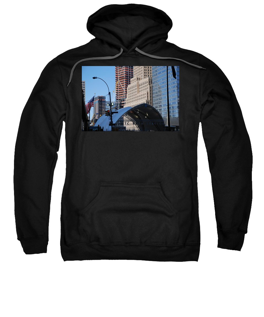 Street Scene Sweatshirt featuring the photograph W T C Path Station by Rob Hans