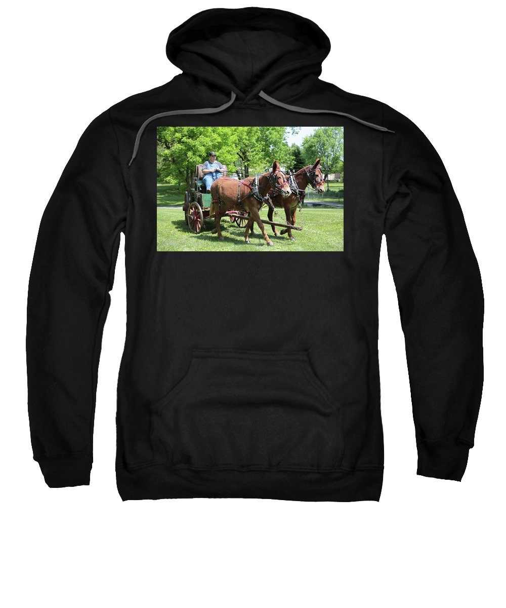 Mule Sweatshirt featuring the photograph Wagon Supply by Dwight Cook