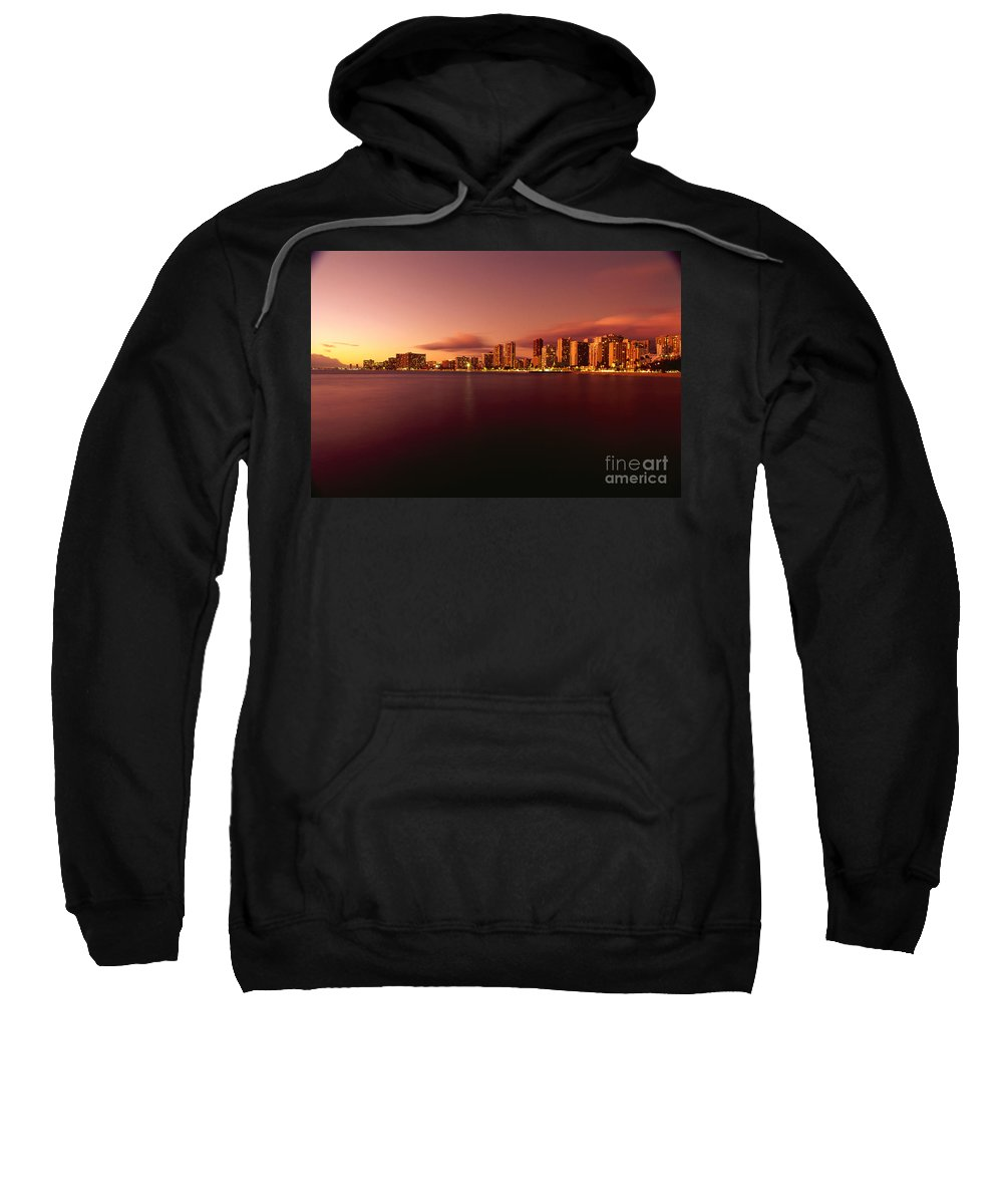 Across Sweatshirt featuring the photograph Waikiki At Twilight by Carl Shaneff - Printscapes