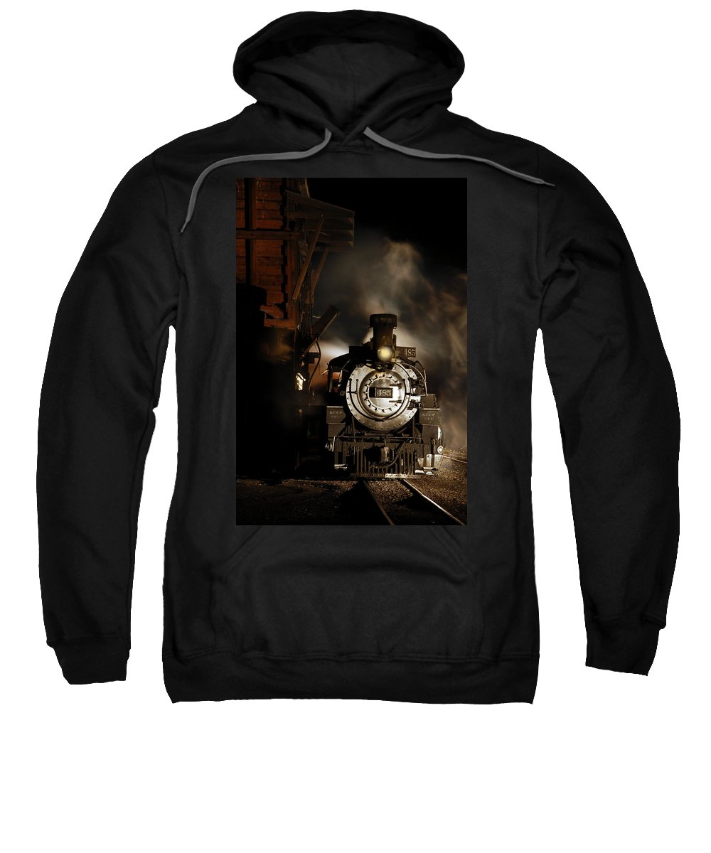 Steam Train Photographs Sweatshirt featuring the photograph Waiting For More Coal by Ken Smith