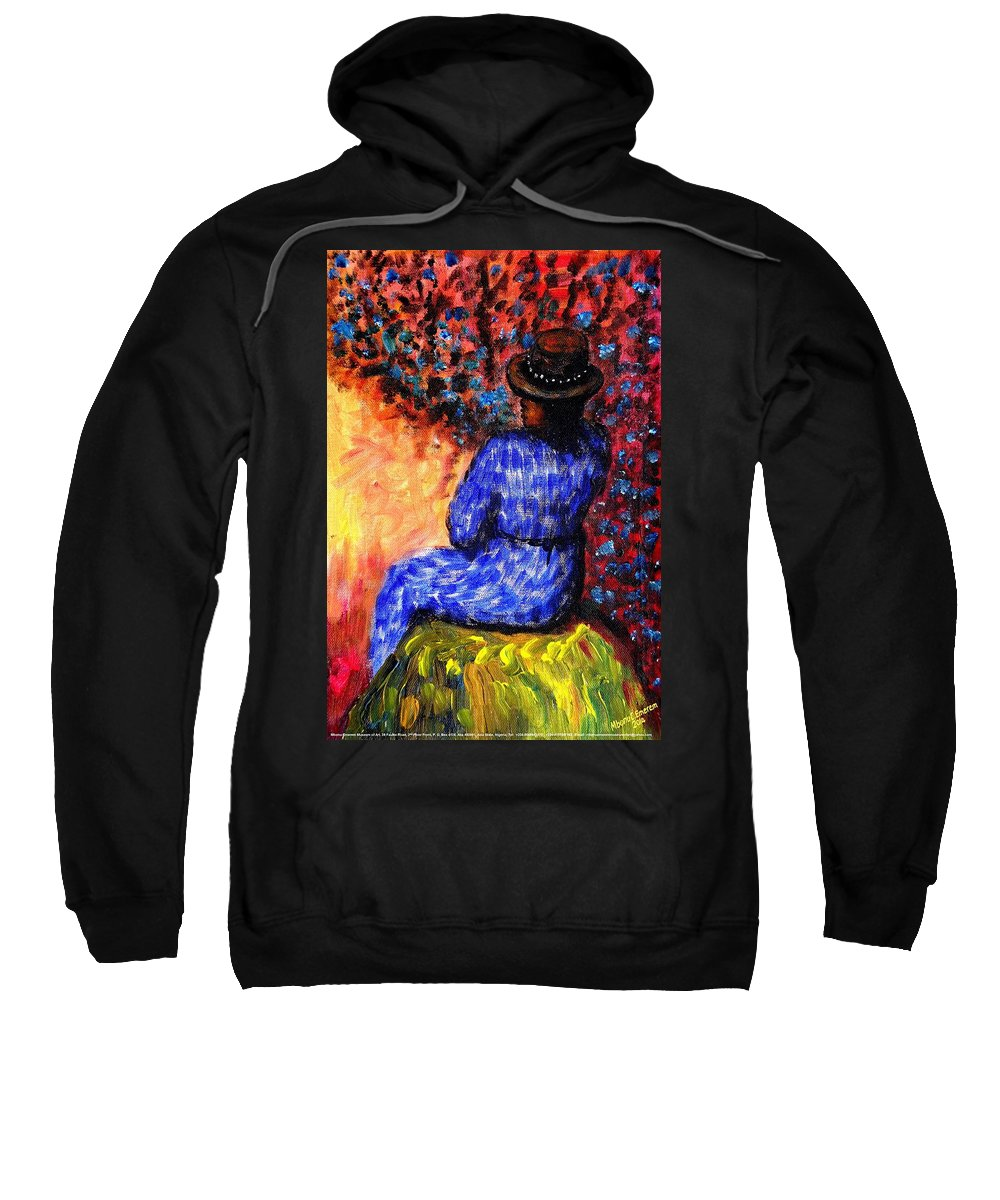 Waiting Sweatshirt featuring the painting Waiting For The Appointed Time by Mbonu Emerem