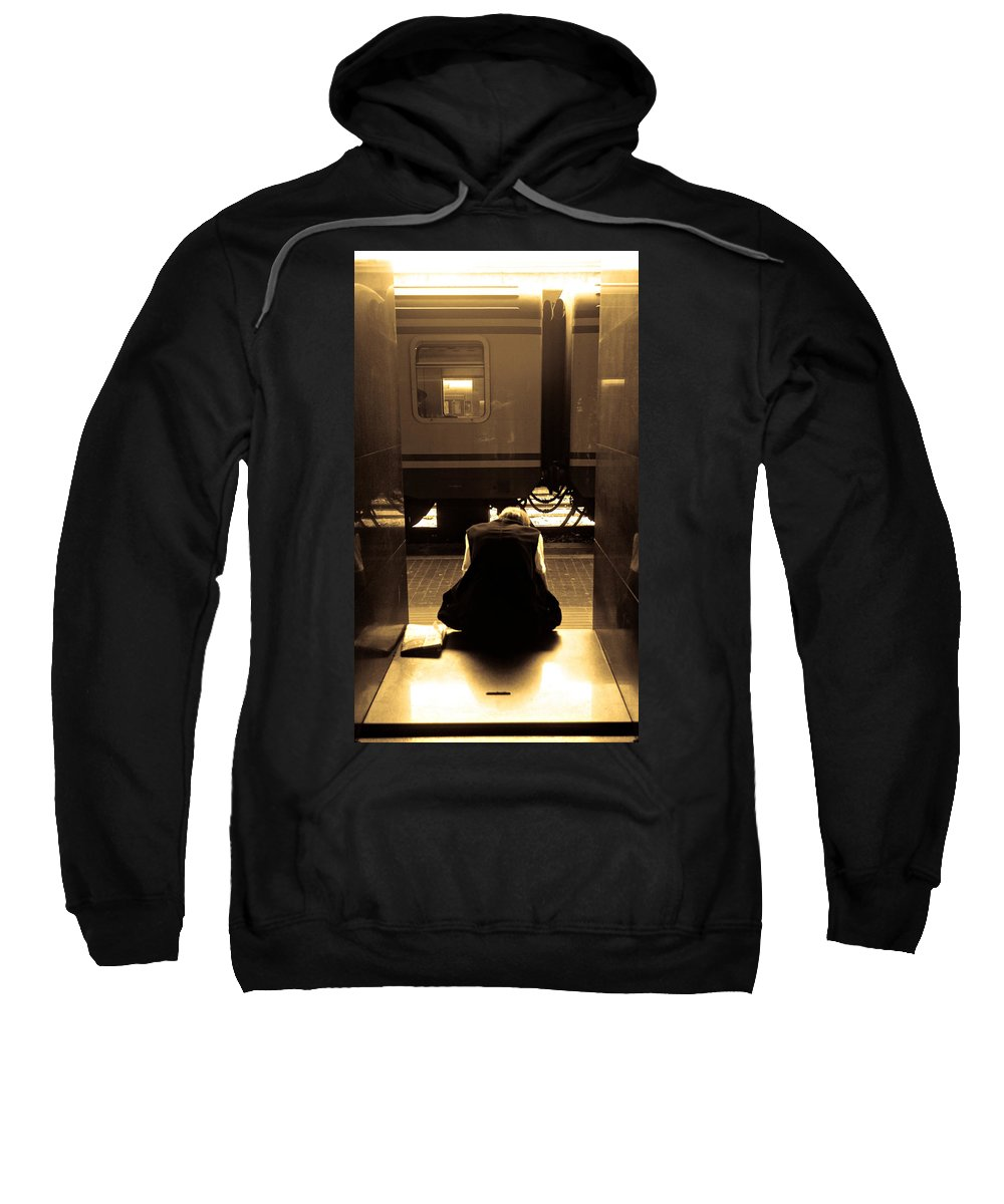 Train Sweatshirt featuring the photograph Waiting For The Train by Scott Sawyer