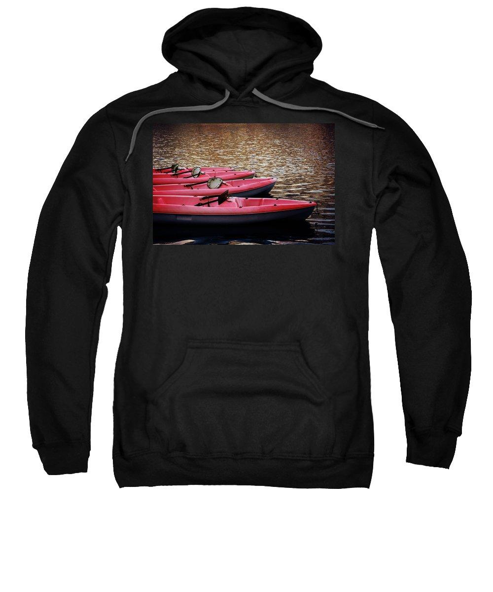 Kayaks Sweatshirt featuring the photograph Waiting Kayaks by Robert Anastasi