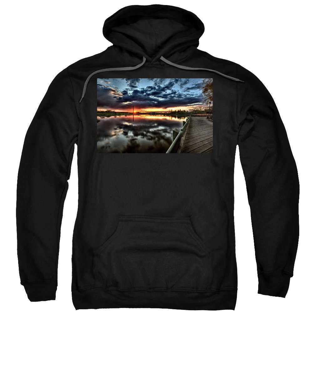 Reflection Sweatshirt featuring the digital art Wakamaw Valley Sunrise by Mark Duffy