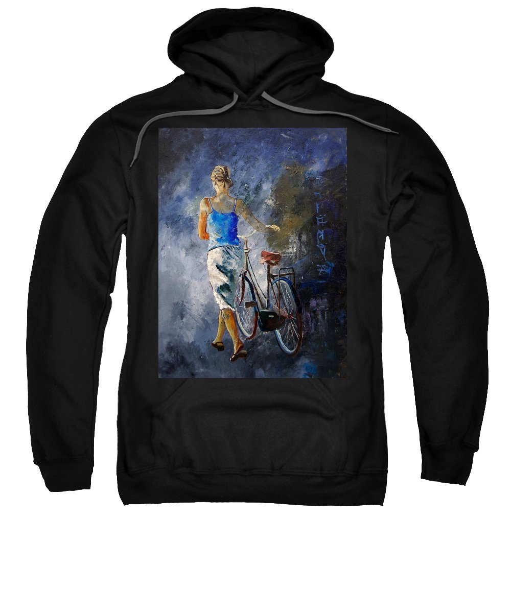 Girl Sweatshirt featuring the painting Waking Aside Her Bike 68 by Pol Ledent