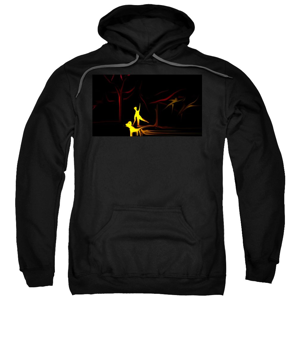 Abstract Digital Painting Sweatshirt featuring the digital art Walk In The Dog Park by David Lane