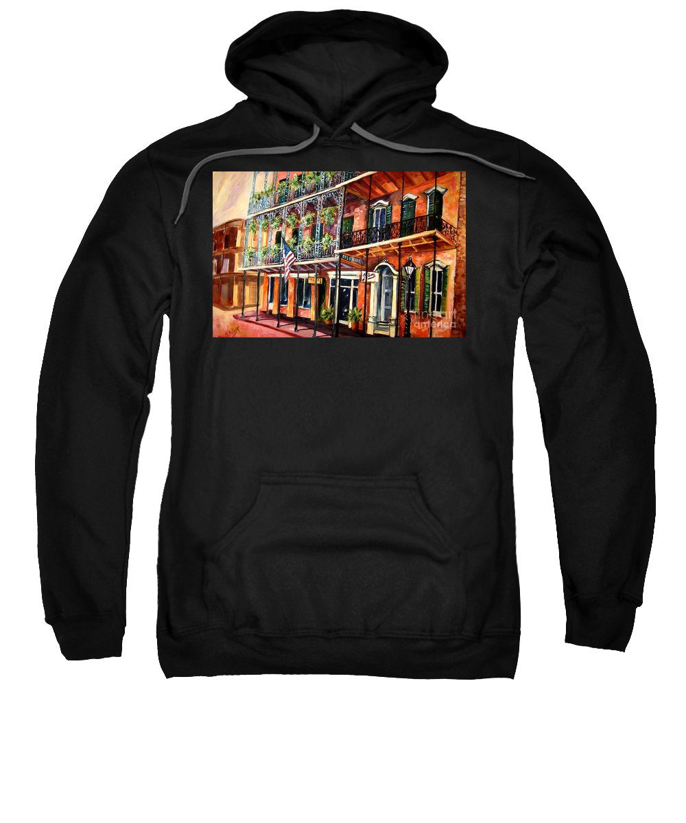 New Sweatshirt featuring the painting Walk In The French Quarter by Diane Millsap