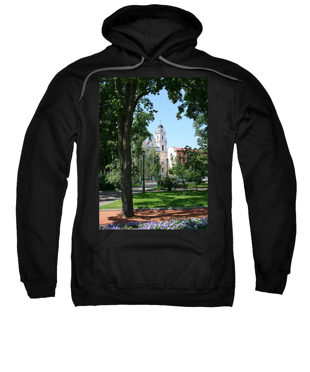 Park City Tree Trees Flowers Church Building Summer Blue Sky Green Walk Bench Sweatshirt featuring the photograph Walk In The Park by Andrei Shliakhau