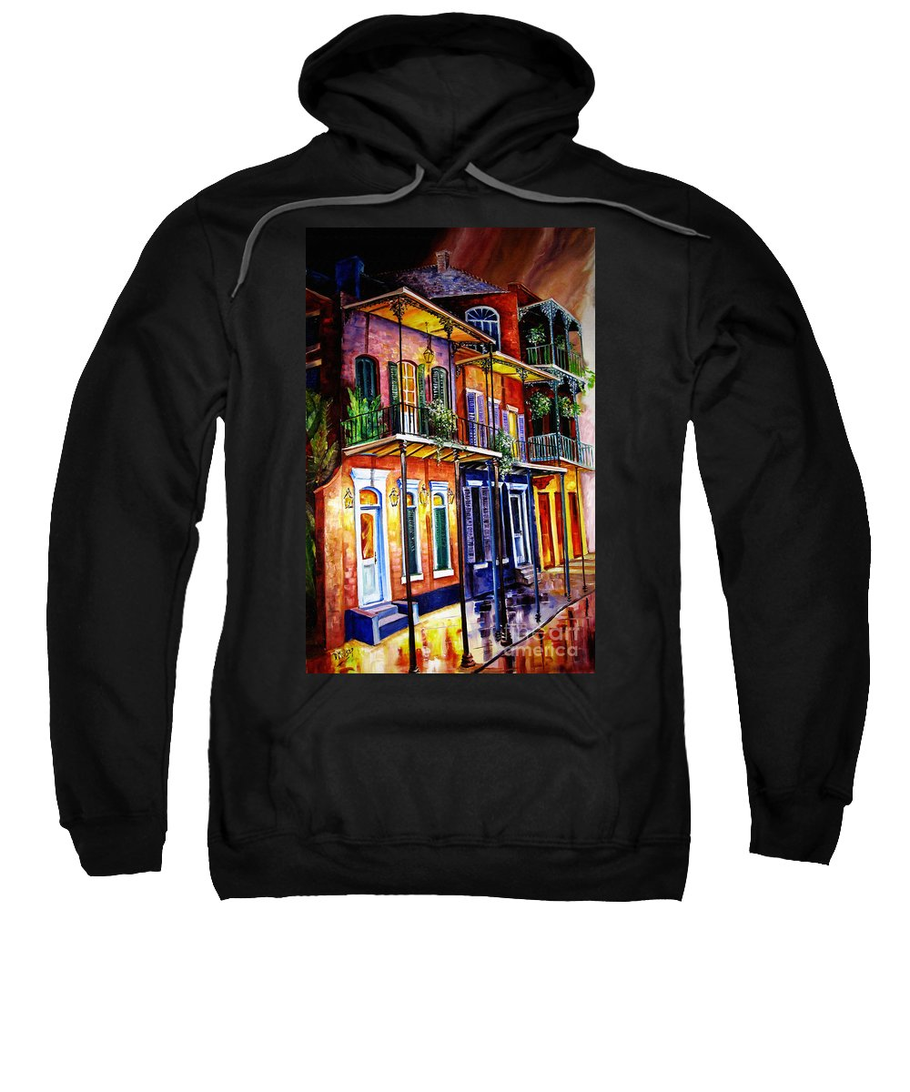 New Orleans Paintings Sweatshirt featuring the painting Walk Into The French Quarter by Diane Millsap