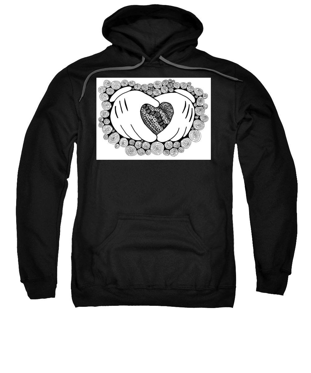 Walt Sweatshirt featuring the drawing Walt Disney's Mickey Mouse Inspired Hands And Heart by Eric Strickland