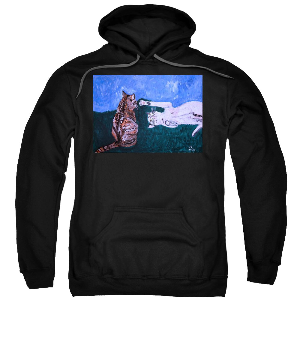 Cat Sweatshirt featuring the painting Want To Play by Valerie Ornstein