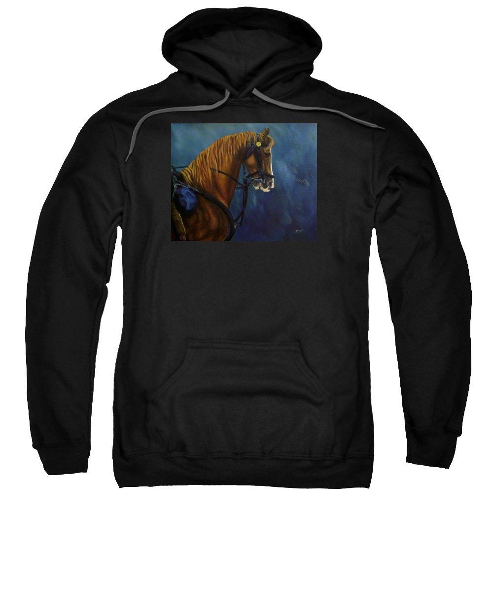 Civil War Sweatshirt featuring the painting Warhorse-us Cavalry by Joann Renner