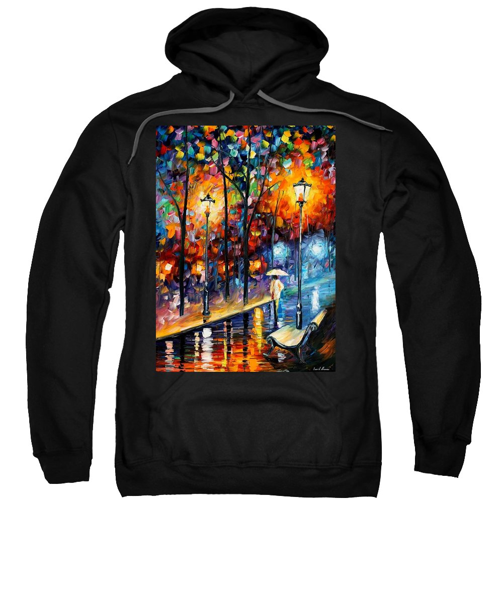 Afremov Sweatshirt featuring the painting Warm Winter by Leonid Afremov