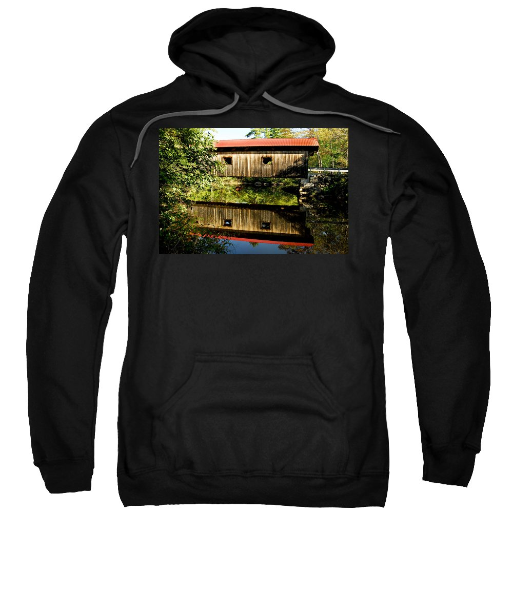 Covered Bridge Sweatshirt featuring the photograph Warner Covered Bridge by Greg Fortier