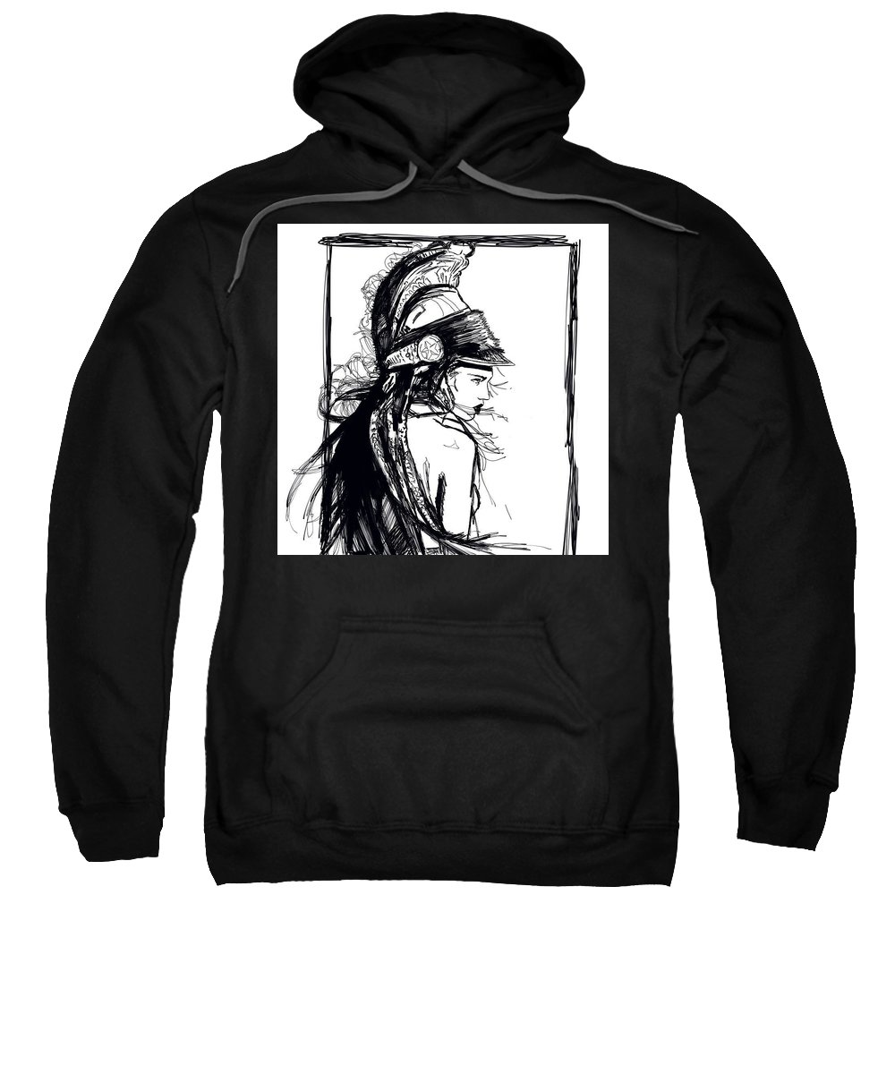 Digital Line Art Portrait Sweatshirt featuring the digital art Warrior Girl 1 by Carrley Mason