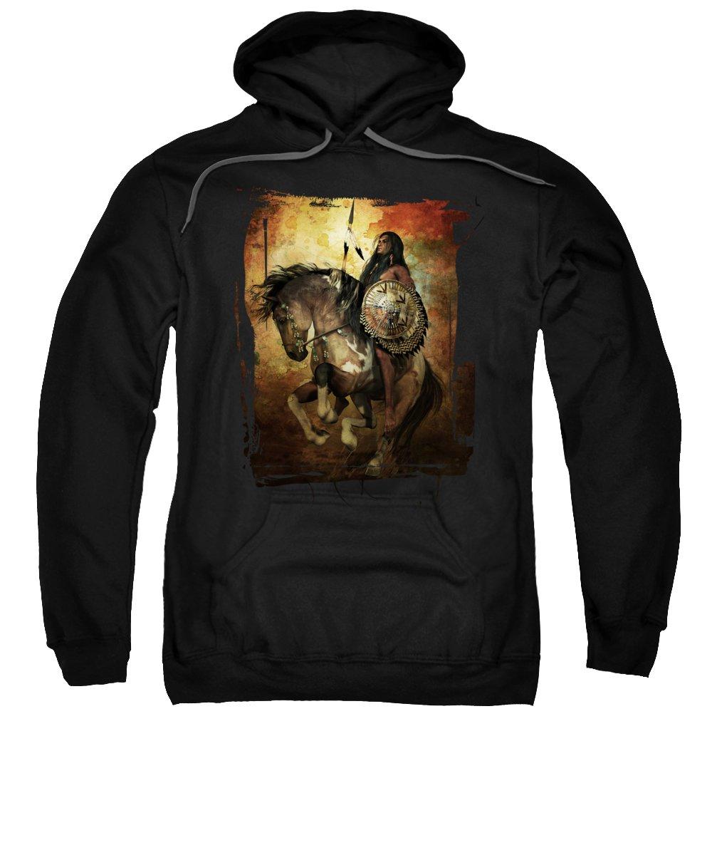 Courage Sweatshirt featuring the digital art Warrior by Shanina Conway