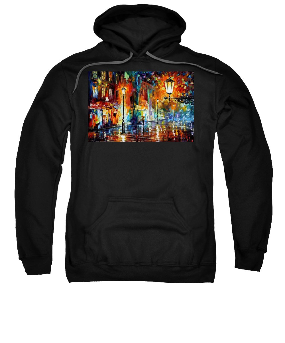Afremov Sweatshirt featuring the painting Washed City by Leonid Afremov