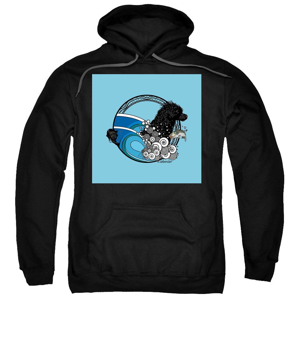 Portuguese Water Dog Sweatshirt featuring the digital art Water Dog Nouveau by Debra Bender