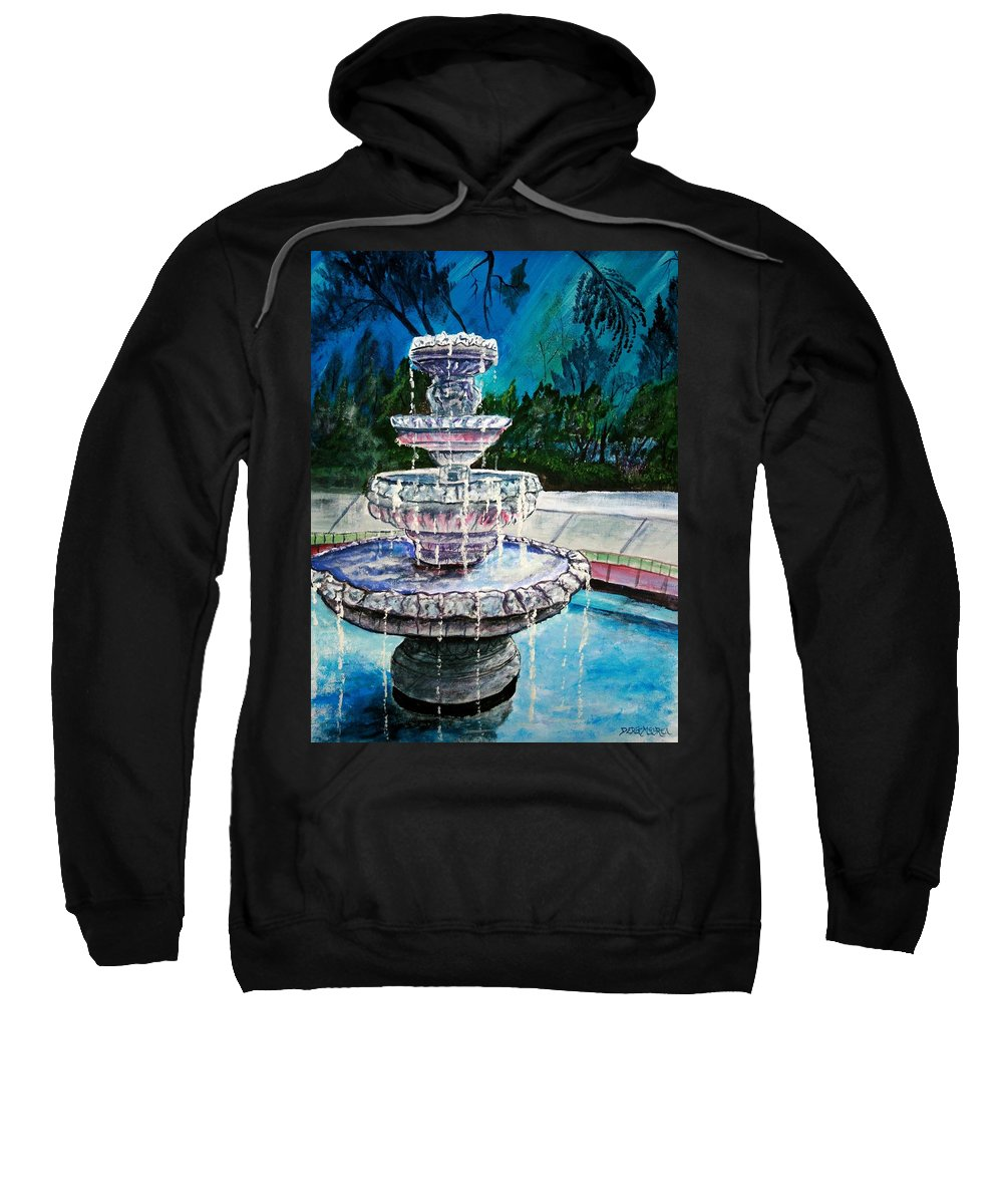 Acrylic Sweatshirt featuring the painting Water Fountain Acrylic Painting Art Print by Derek Mccrea
