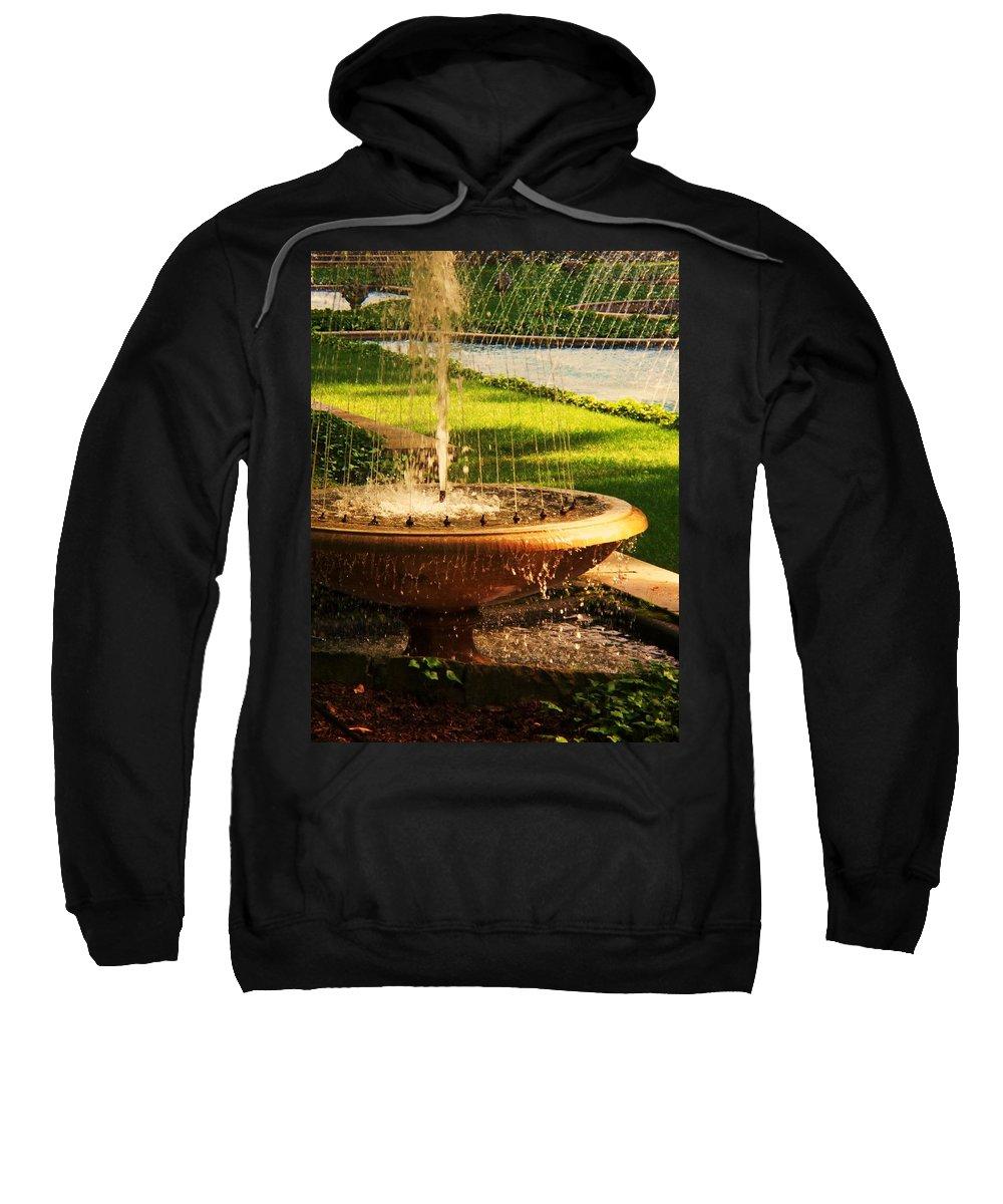 Landscape Sweatshirt featuring the photograph Water Fountain Garden by Eric Schiabor