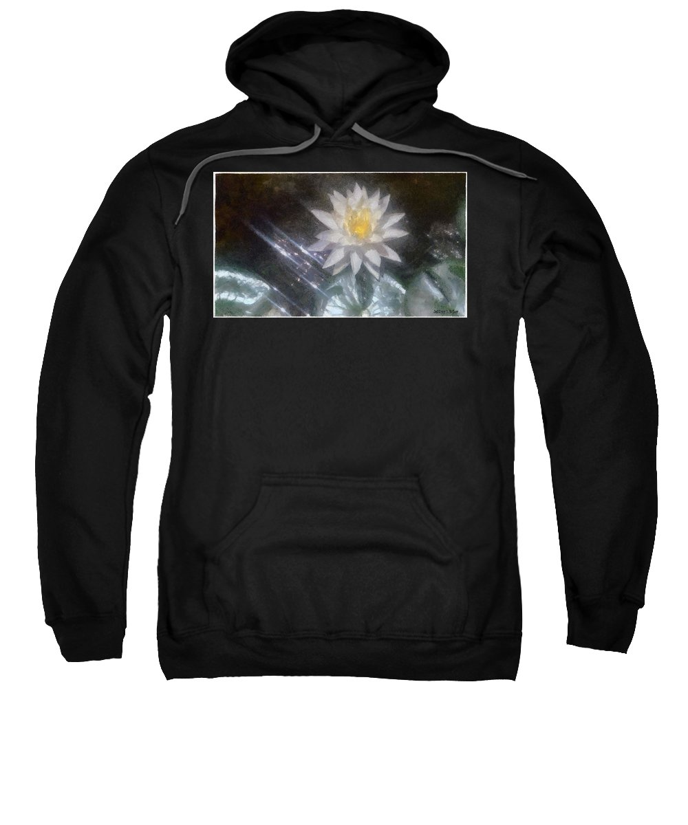 Water Lily Sweatshirt featuring the painting Water Lily In Sunlight by Jeffrey Kolker