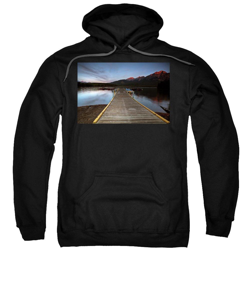Docks Sweatshirt featuring the digital art Water Reflections At Pyramid Lake by Mark Duffy