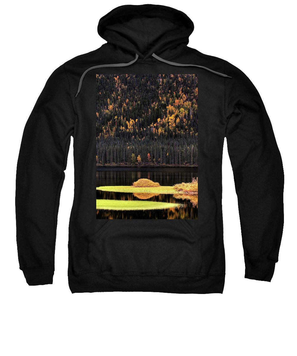 Autumn Sweatshirt featuring the digital art Water Reflections In Autumn by Mark Duffy