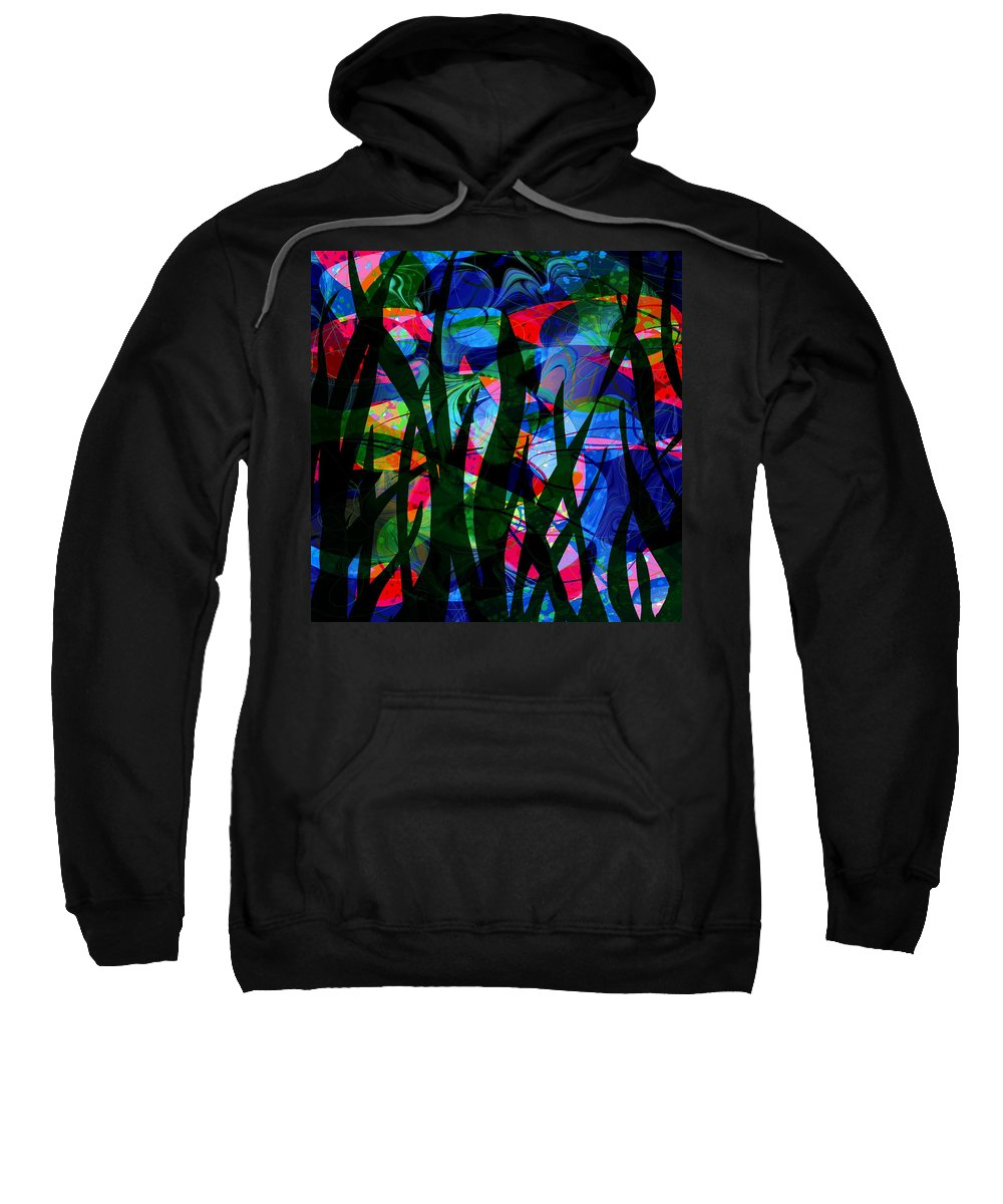 Abstract Sweatshirt featuring the digital art Watermelon And A Swim by William Russell Nowicki